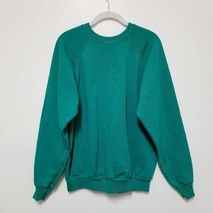 Vintage Blank Sweatshirt Tultex Plain Green Large